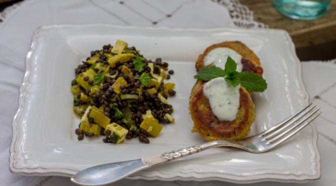 Minze-Raita zu Falafel und Linsensalat läuten den Frühling ein