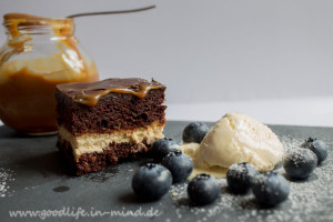 Brownie Cheesecream und Karamell