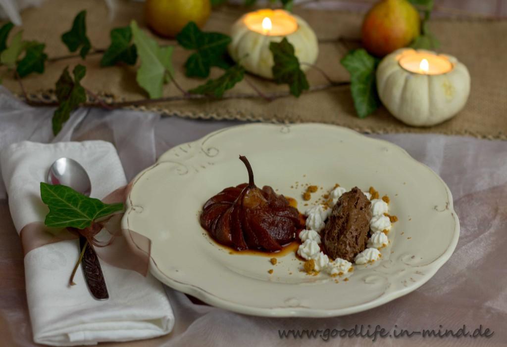 Dessert des Jahres: Portweinbirnen und Mousse mit Schokolade und einem Hauch Espresso