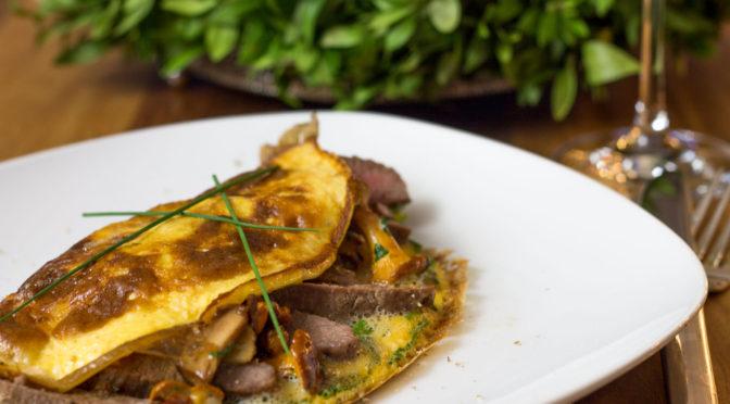 Omelett mit Pfifferlingen und Lammlachse